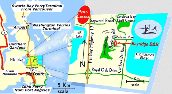 Directions to Bayridge Victoria BC bed and breakfast